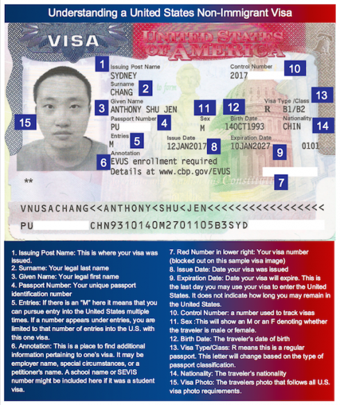 Image of a United States Non-Immigrant Visa