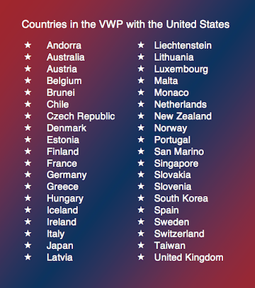 Countries in Visa Waiver Program with US