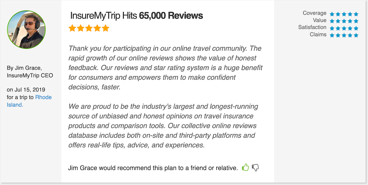 InsureMyTrip Hits 65,000 Travel Insurance Reviews